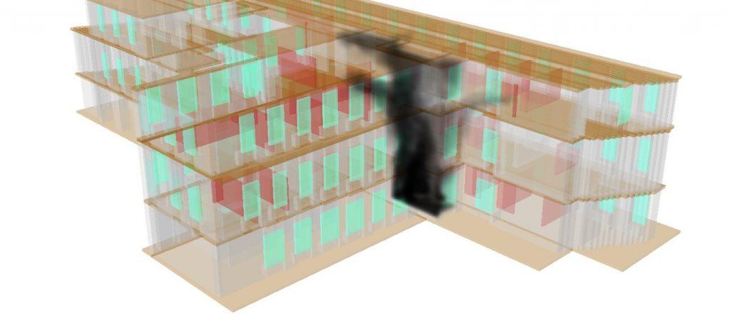 immagine 1 Fumo presente nel Palazzo, istante temporale t=50s.